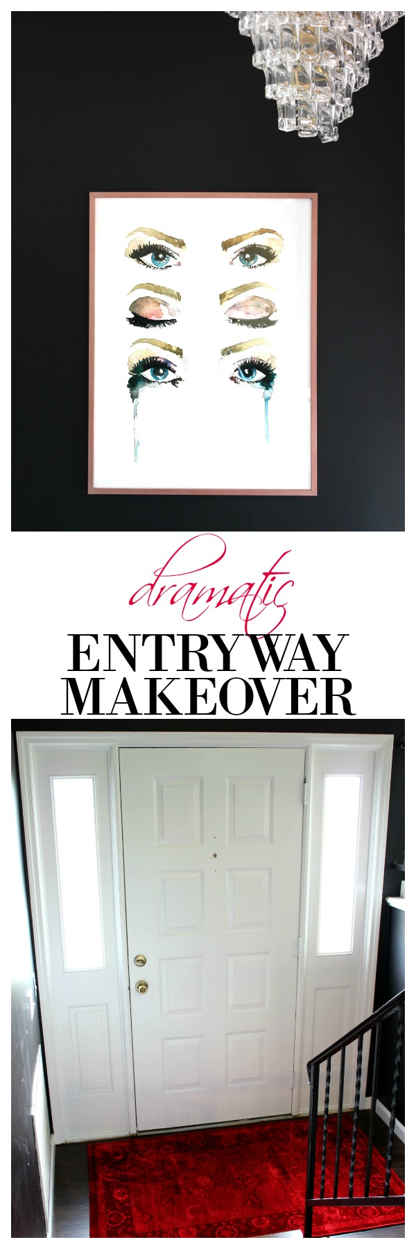 Dramatic Split Level Entryway Makeover | Split Foyer Entry | Bi Level Entry | Entryway Makeover Ideas