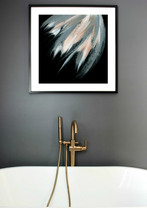 Hanging a Picture in Drywall - art in bathroom - Rain on a Tin Roof