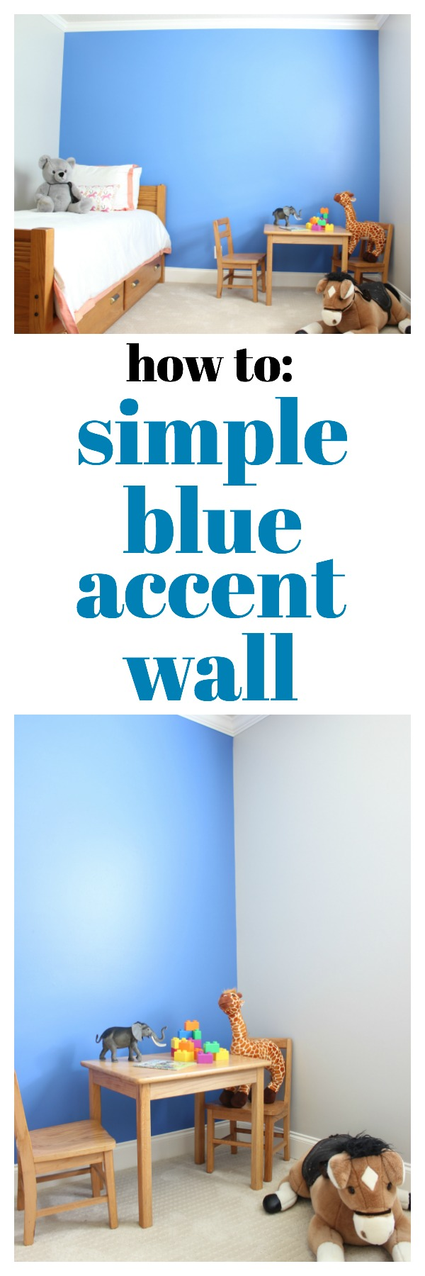 Tutorial for a Simple Blue Accent Wall using Behr's Boat House - great idea for adding a little color to a room! Perfect for kid's rooms!