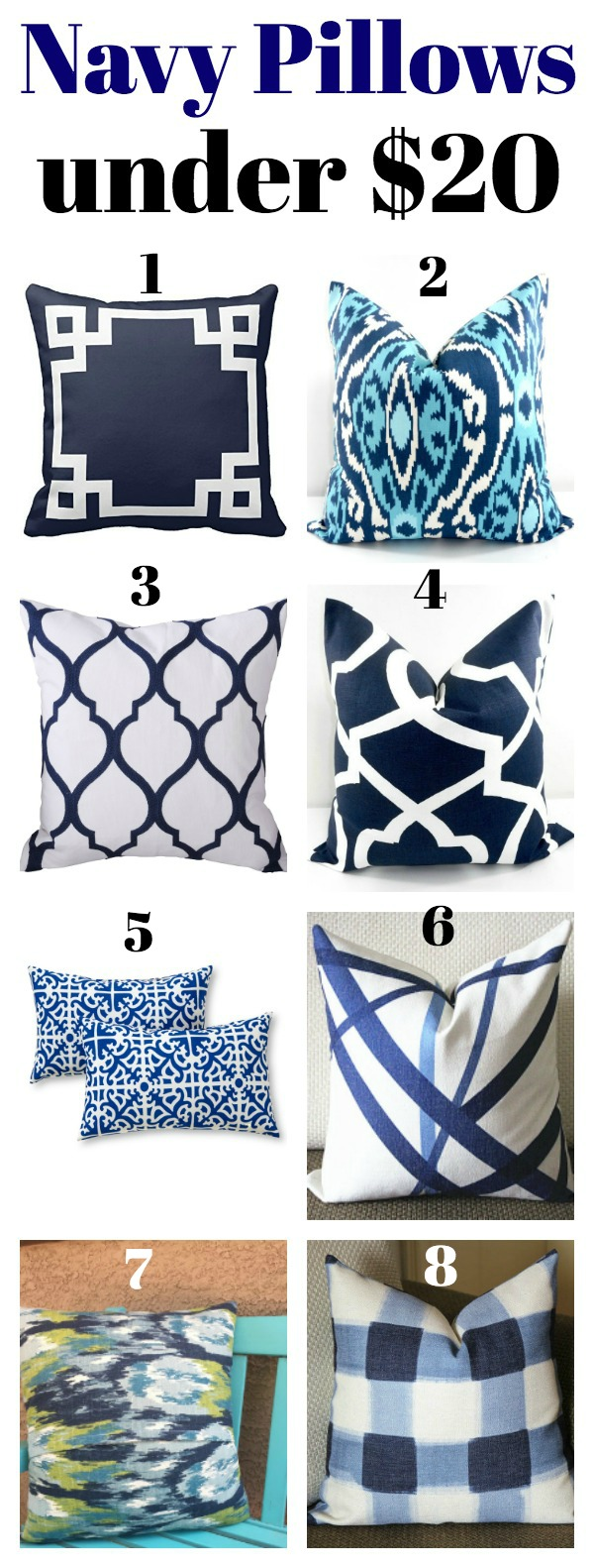 Navy Pillows Under $20 - Affordable, but stylish pillows!