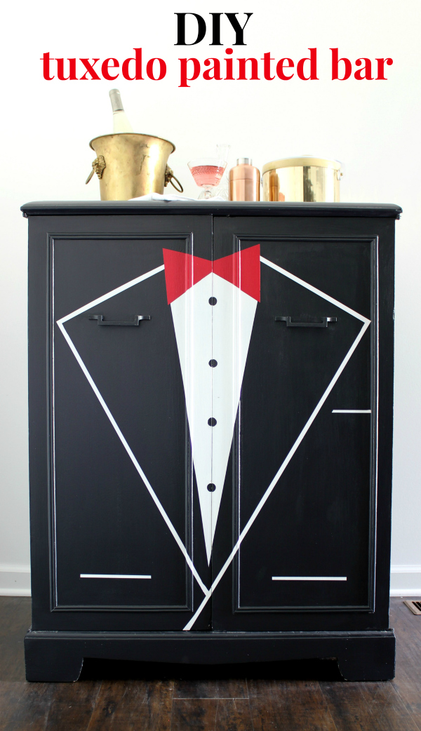 Learn how to paint a bar front or any piece of furniture with a mostly flat front to look like a tuxedo jacket and have your own DIY Tuxedo Bar.