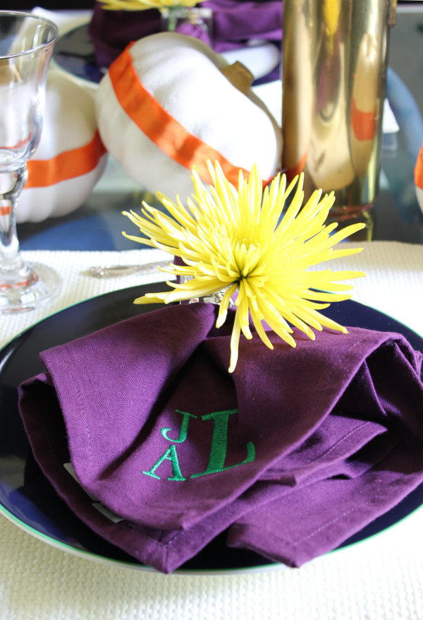 Fall Home Tour | Simple, but Colorful Tablescape | Purple Napkins with Green Monogram | Napkin Holder that doubles as a Vase