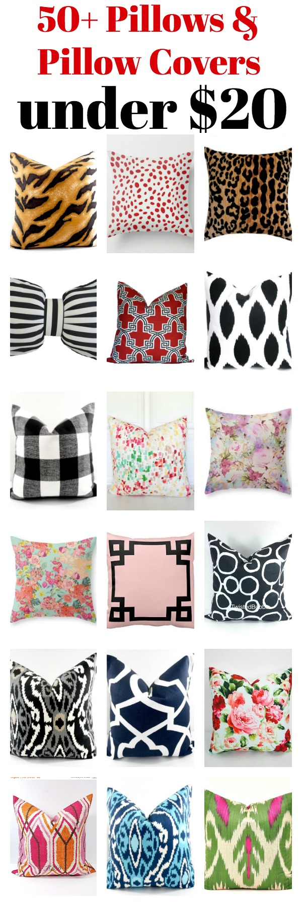 A great source for affordable pillows of every color and pattern! Over fifty pillow covers and pillows under $20 in tons of colors and patterns!