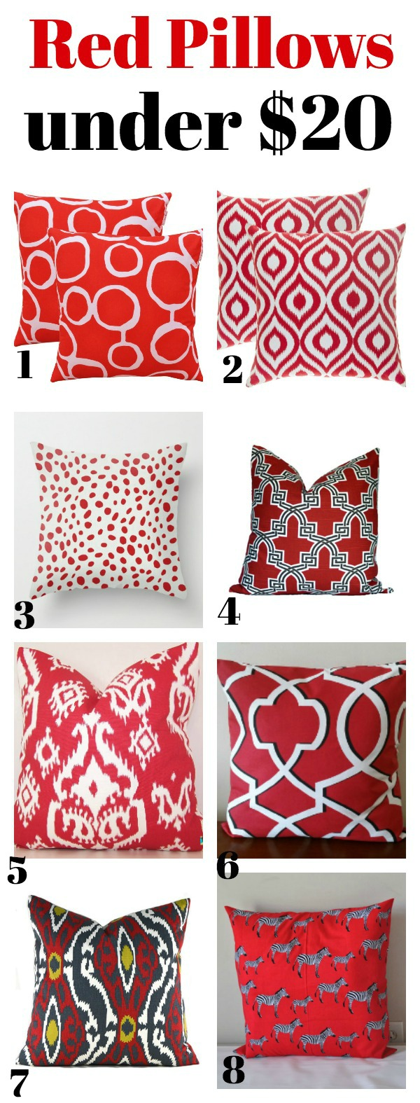 Red Pillows Under $20 - Affordable, but stylish pillows!