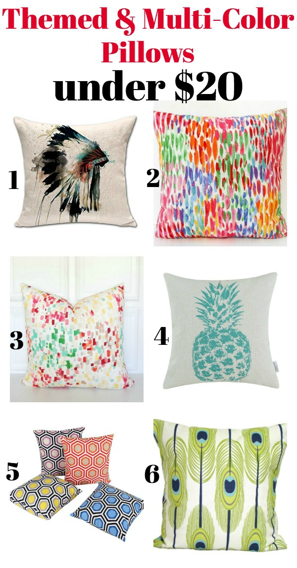 Themed and Multi-Colored Pillows Under $20 - Affordable, but stylish pillows!