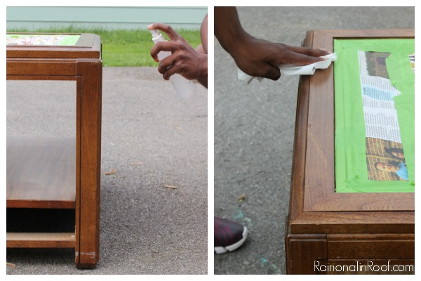 Using paint deglosser to remove the shine.