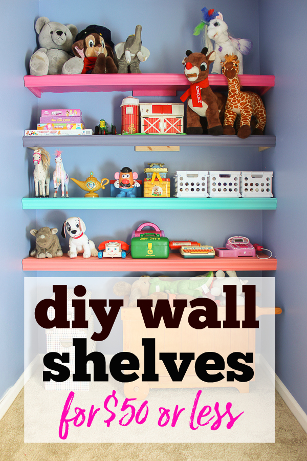 Budget DIY Wall Shelves in the Playroom - Rain on a Tin Roof