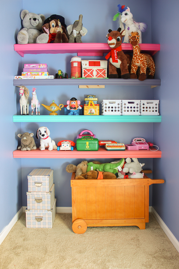 DIY Wall Shelves - Wall to Wall Shelving in the Playroom - Rain on a Tin Roof