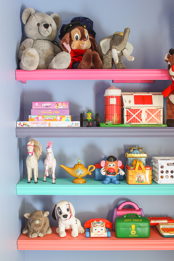 Easy DIY Projects: Building Wall Shelves in the Playroom - Rain on a Tin Roof