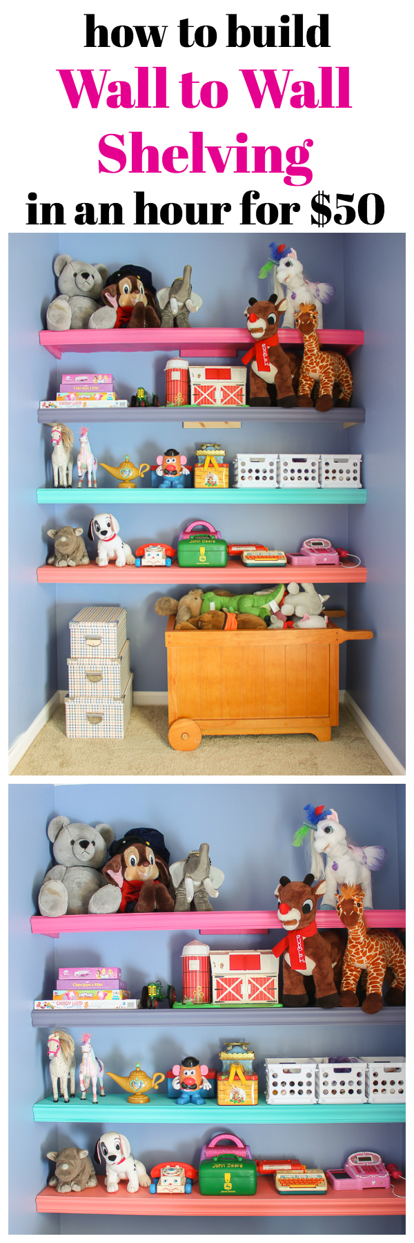 Making Wall Shelves Between Two Walls - Colorful Shelves for the Playroom - Rain on a Tin Roof