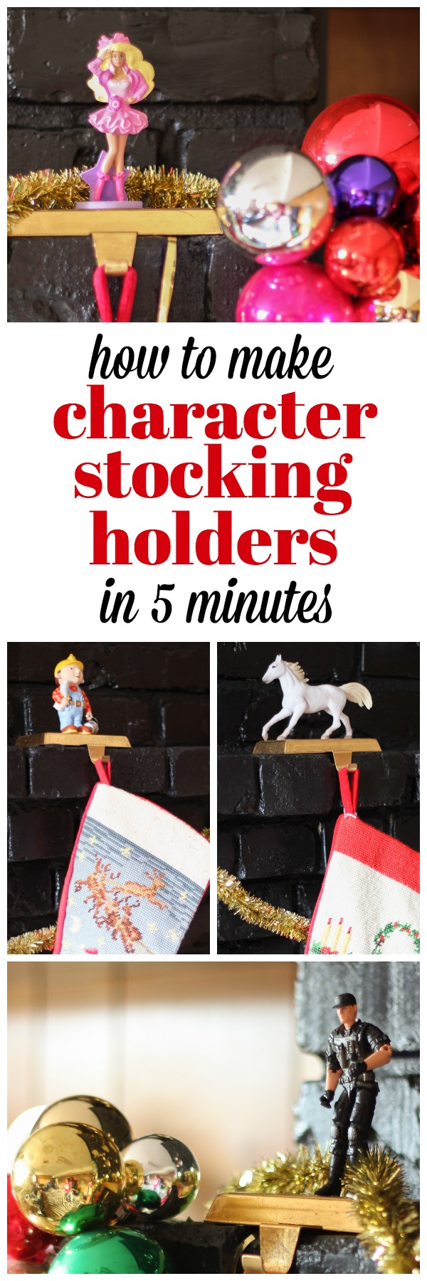 How to Make Character Stocking Holders in Five Minutes - this is a fun DIY Christmas decoration and you can customize it with ANY character or animal you want!
