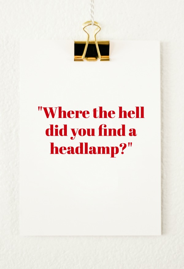Quotes from Last Night | Volume Two | Where the hell did you find a headlamp?