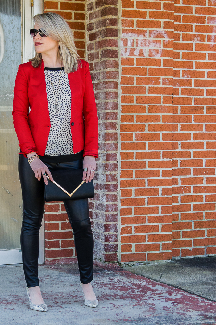 Blazer Outfits: Red Blazer with Leather Legging and Black and White Print Top