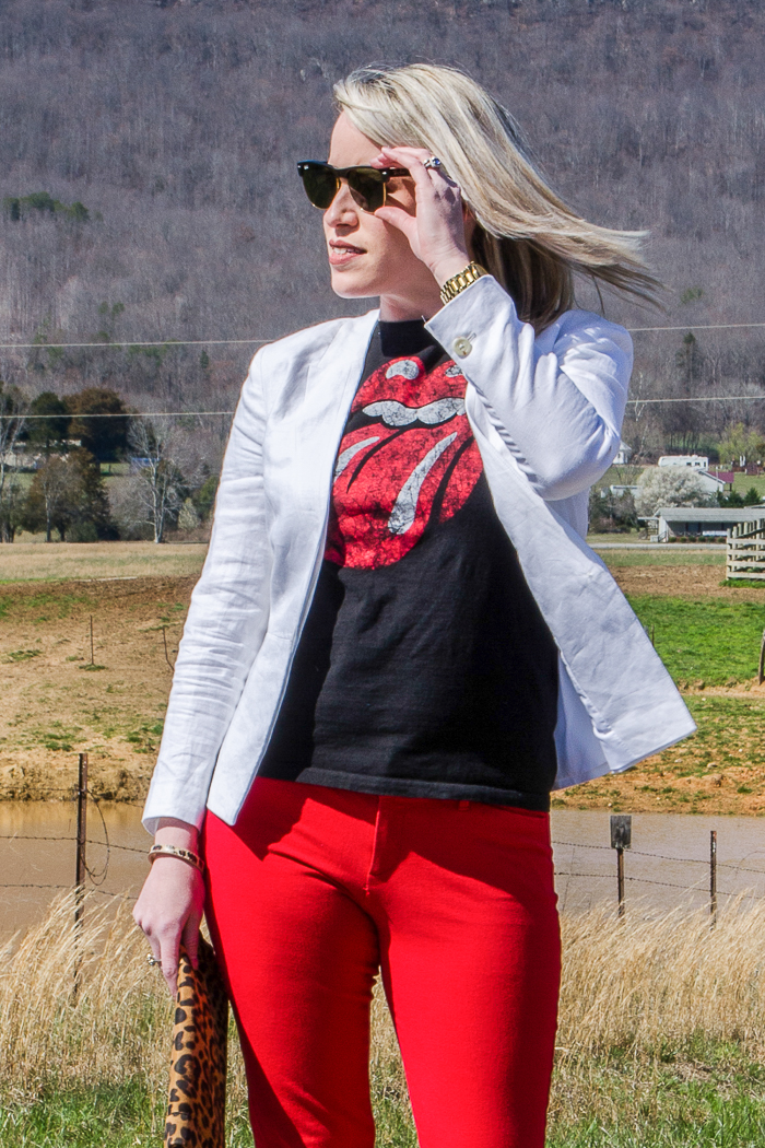 Blazer Outfit Ideas: White Blazer with Band Tee and Red Pants, paired with Leopard Print Shoes