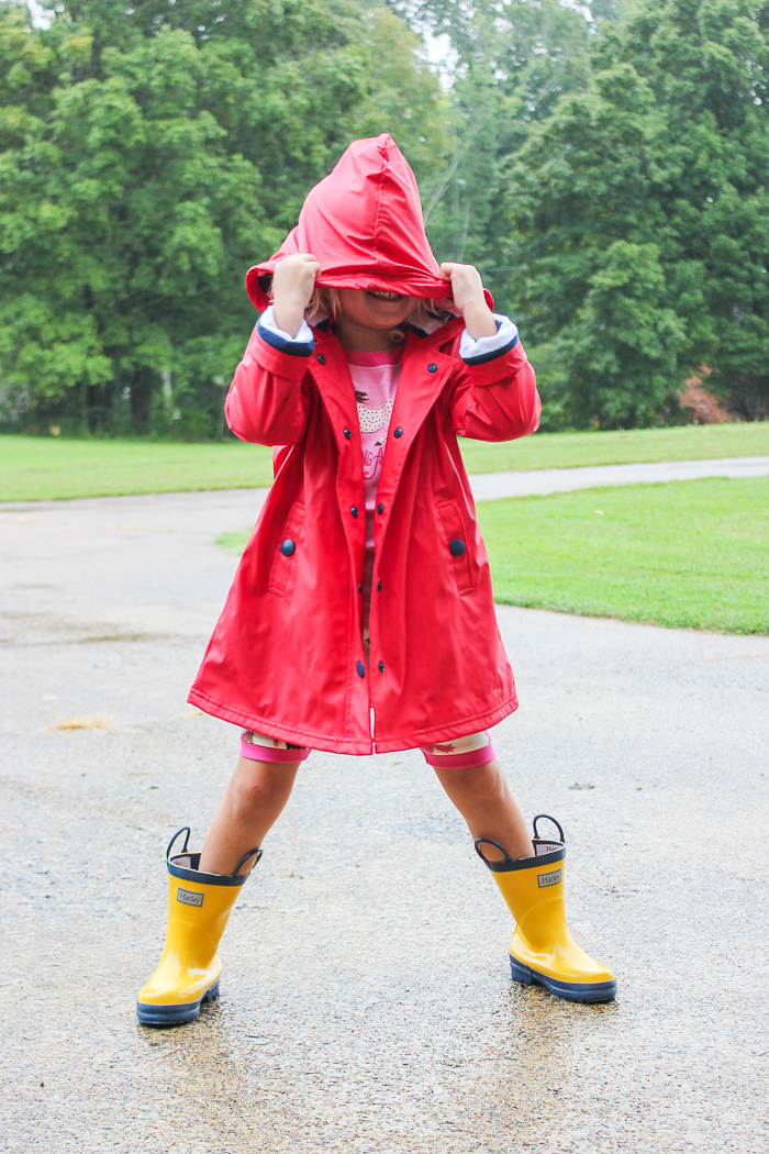 Summer Fun in the Rain | Hatley Raincoat and Boots