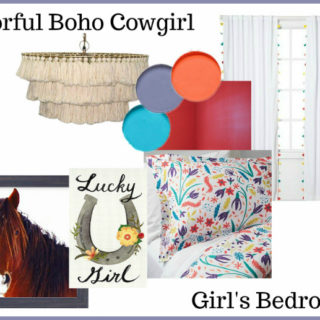 Colorful Boho Cowgirl Girls Bedroom Design