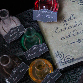 Spell Book Cover and Potion Labels Printables
