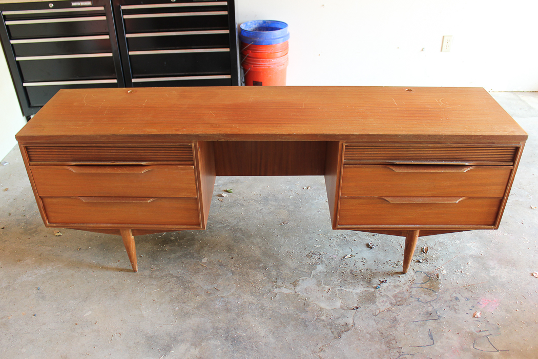 Before: Mid-Century Modern Dressing Table Makeover - a painted and stained furniture makeover combination with Velvet Finishes.