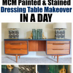Mid-Century Modern Dressing Table Makeover - a painted and stained furniture makeover combination with Velvet Finishes.
