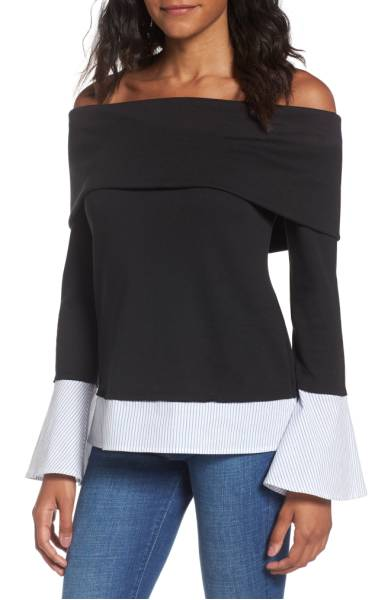 Best Sweaters for Fall Under $50: Off the Shoulder Black and White Bell Sleeve Sweater