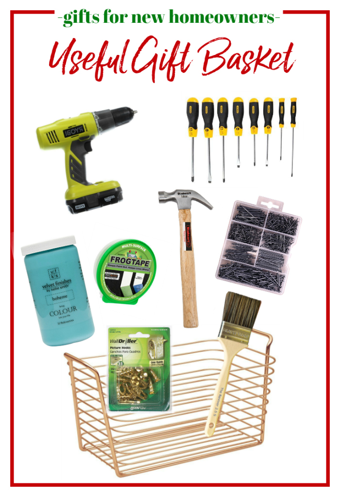 Gifts for Homeowners - gift basket filled with useful home items.