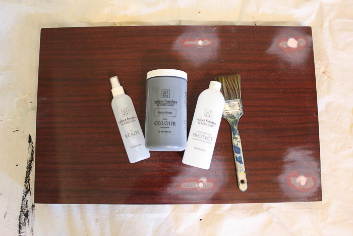 Two Tiered Table Makeover - painting supplies.