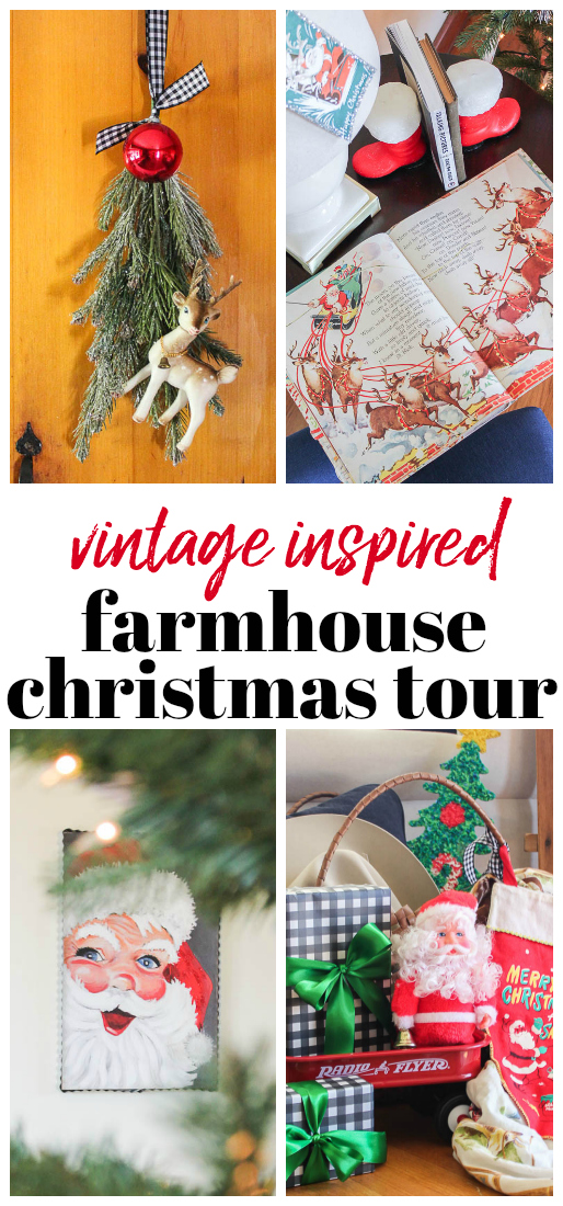 Vintage Inspired Farmhouse Christmas Tour - full of simple Christmas decorating ideas inspired by vintage holiday decor.