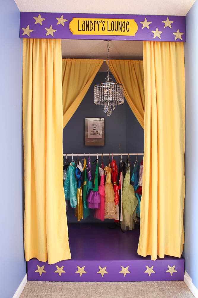Kids Playroom DIY Stage - open curtains on stage - Rain on a Tin Roof
