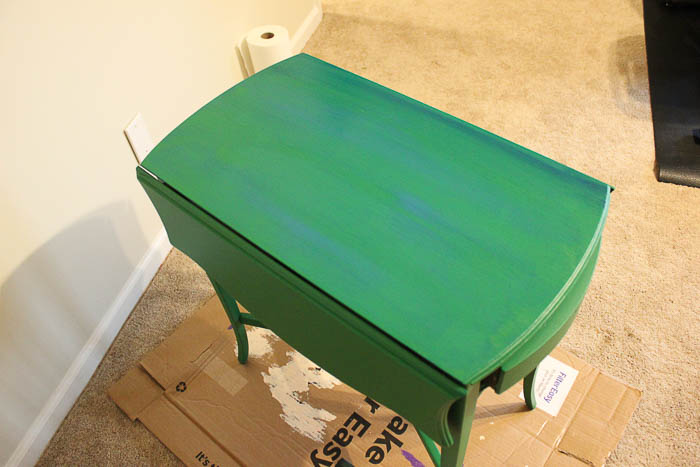 How to get a layered Caribbean Blue Look When Painting Furniture - applying the colored glaze.