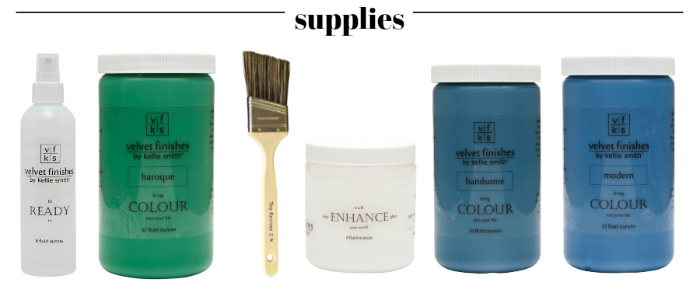 How to get a layered Caribbean Blue Look When Painting Furniture - the supplies.