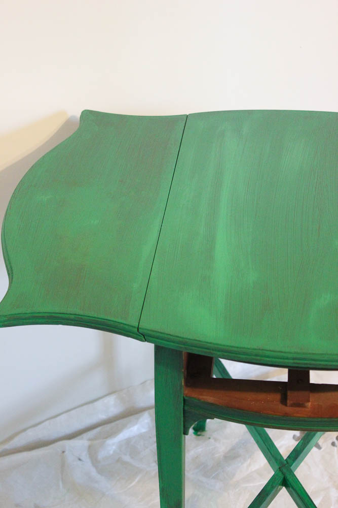How to get a layered Caribbean Blue Look When Painting Furniture - first coat of paint.