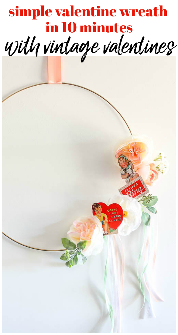 Easy valentine wreath craft with flowers, valentines and ribbon.
