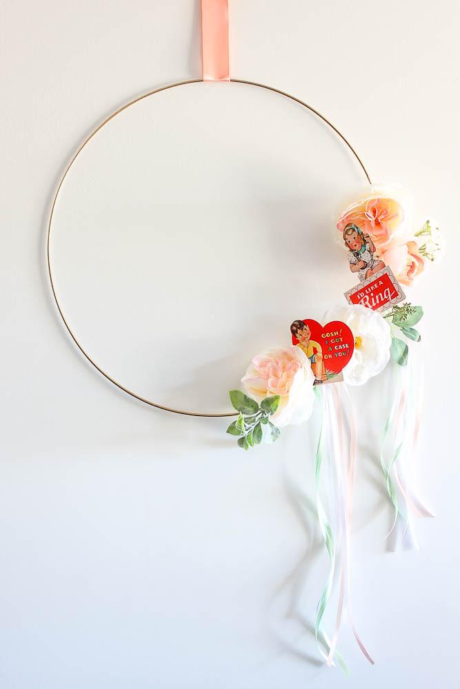 Vintage Valentine Decorations - a valentine wreath.