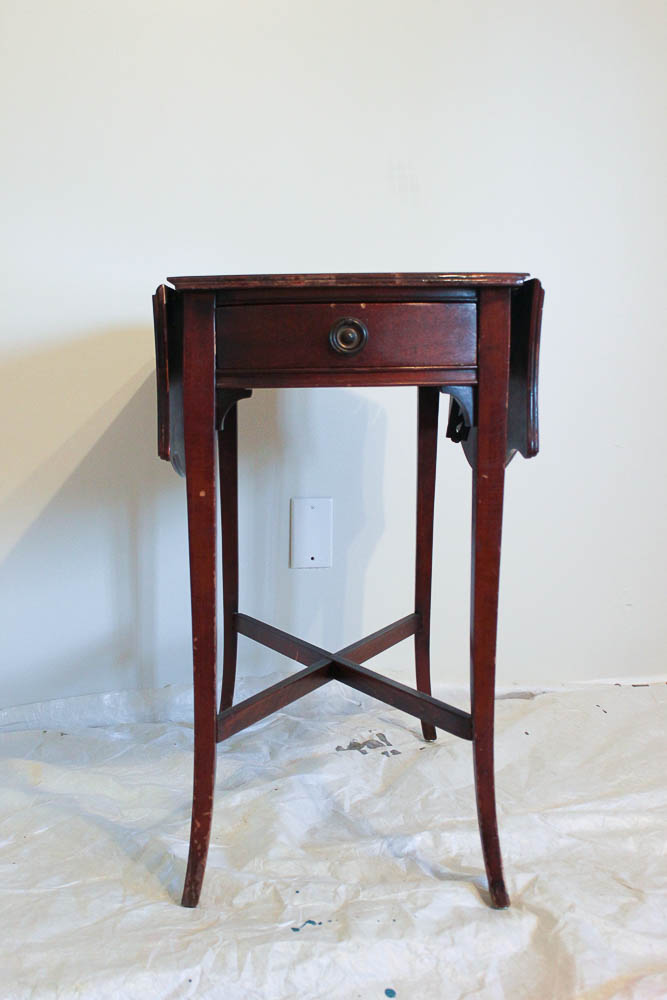 How to get a layered Caribbean Blue Look When Painting Furniture - the table before.