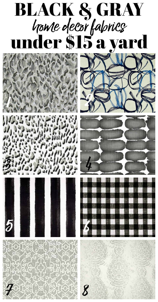 Cheap Home Decor Fabric by the Yard - Black and Gray Upholstery Fabrics - Rain on a Tin Roof