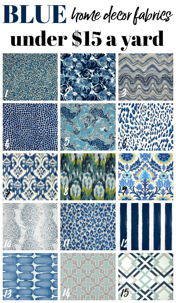 Cheap Fabric by the Yard - Blue Home Decor Fabrics - Rain on a Tin Roof