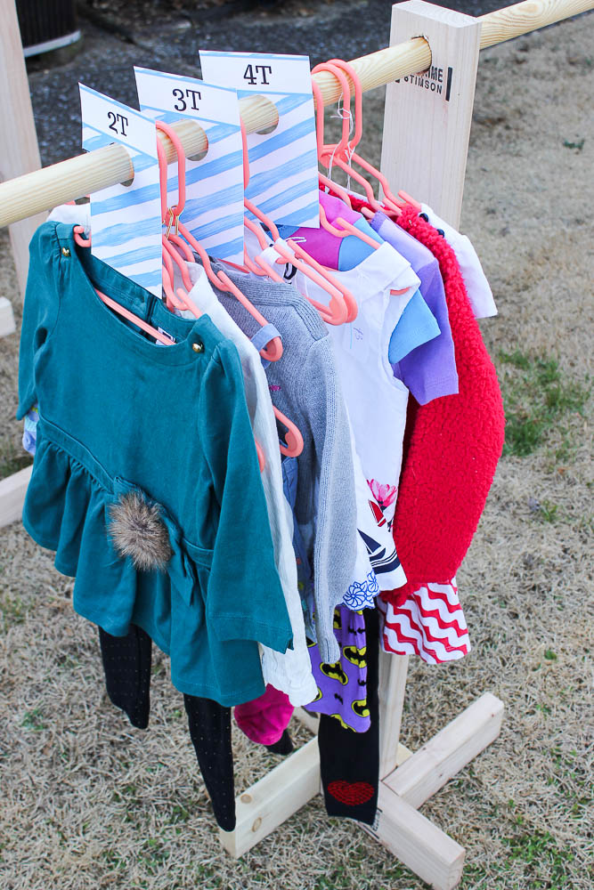 DIY Clothes Racks - perfect for extra hanging clothes storage, yard sales and kid's closets. Rain on a Tin Roof