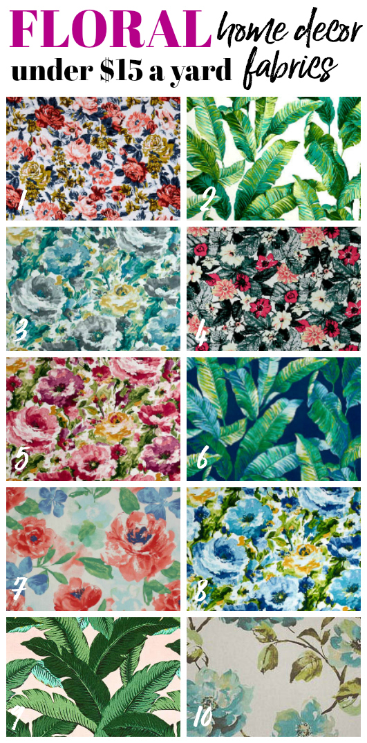 Cheap Upholstery Fabrics by the Yard - Floral Home decor Fabrics - Rain on a Tin Roof