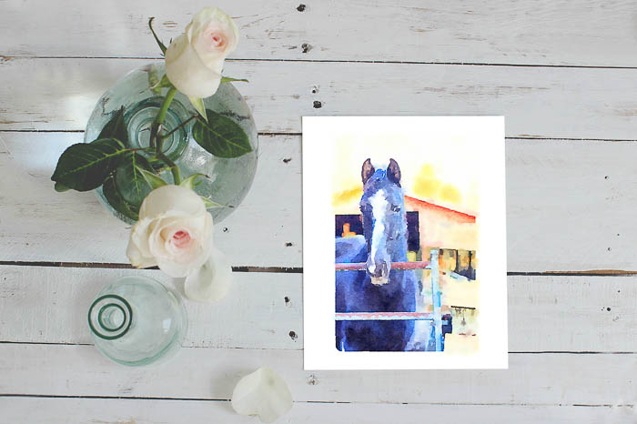 Free Printable Horse Pictures - Watercolor Horse Art - Rain on a Tin Roof