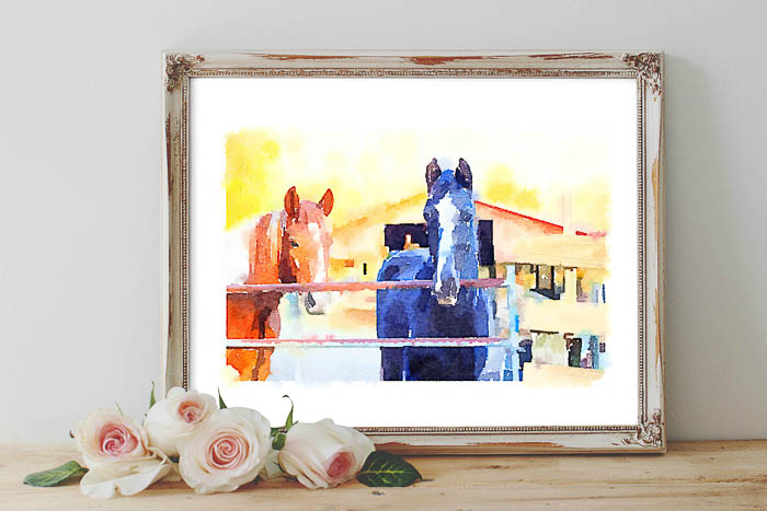 Printable Horse Images - watercolor horse art - Rain on a Tin Roof