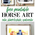 Free Printable Horse Art - color, black and white, watercolor - perfect for framing for wall art.