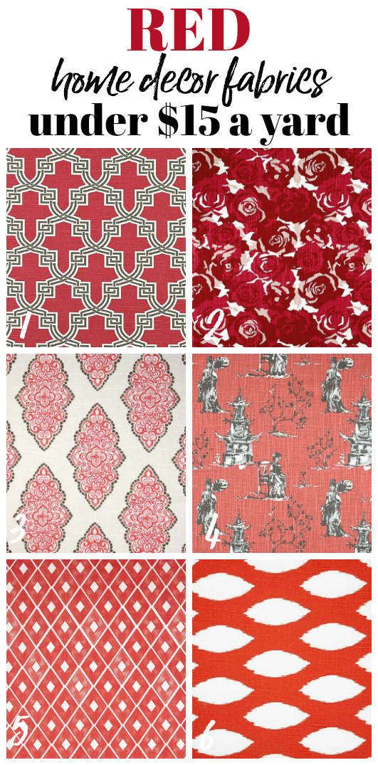 Where to Buy Cheap Fabric Online - Red Upholstery Fabrics - Rain on a Tin Roof