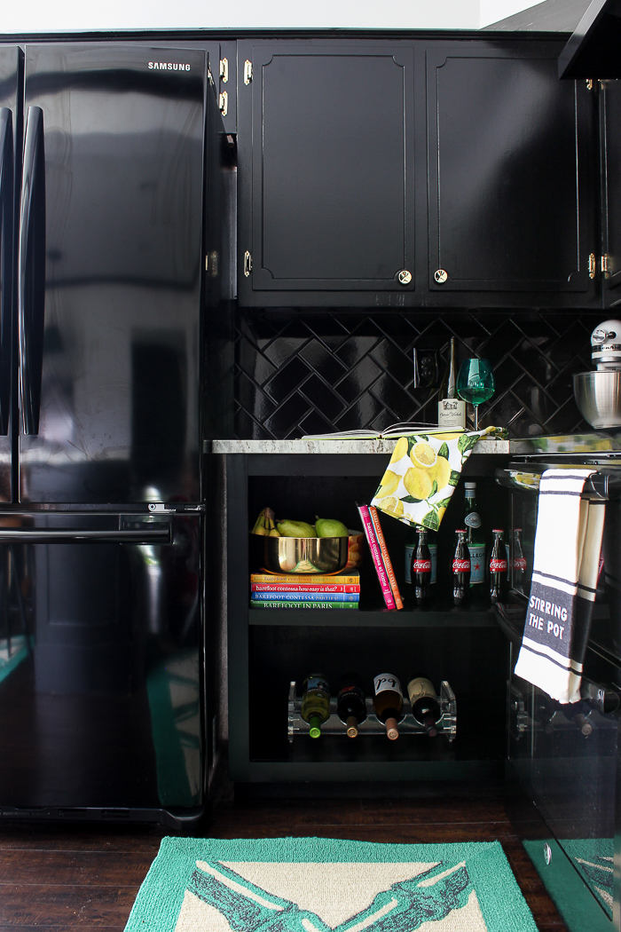What Type of Paint for Kitchen Cabinets - Black Cabinets in Kitchen - Rain on a Tin Roof