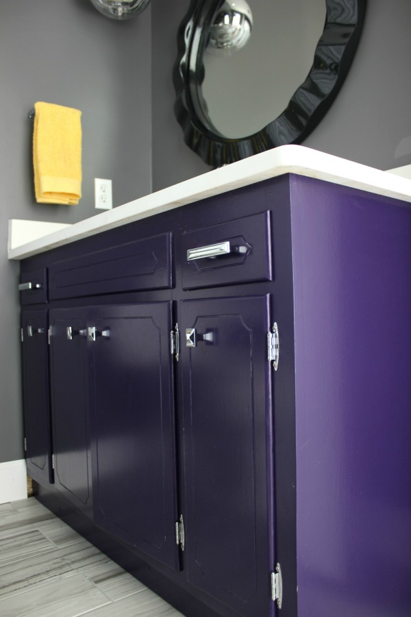 What Kind of Paint to Use on Cabinets - Purple Bathroom Vanity - Rain on a Tin Roof