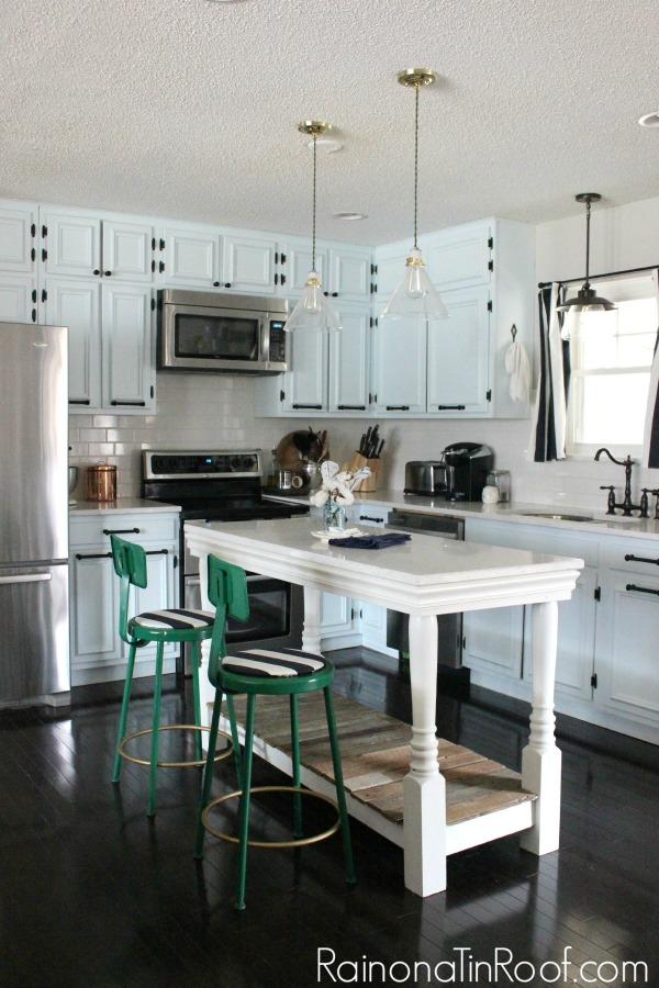 Best Paint for Cabinets - White Rustic Kitchen - Rain on a Tin Roof