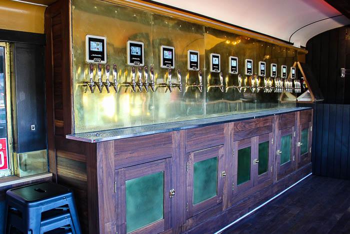 A craft beer bar inside a train car at the Chattanooga Choo Choo.