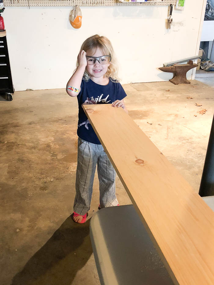 DIY Wall Desk - My little helper. Rain on a Tin Roof