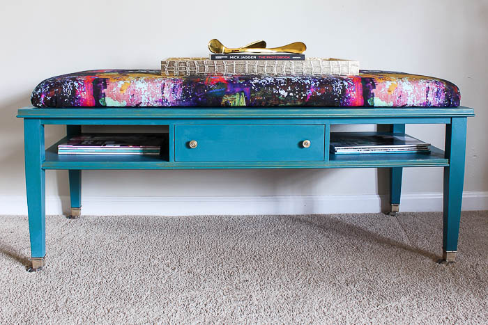 DIY Ottoman Coffee Table - How to add a cushion top to an old coffee table.