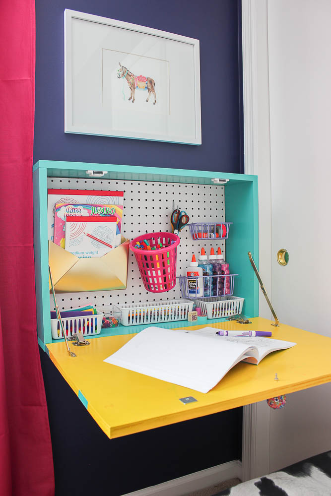 DIY Wall Mounted Desk - with storage and writing space - Rain on a Tin Roof