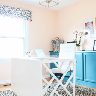 Home Office Makeover with Budget-Friendly DIY Projects: DIY Chippendale Desk, peach walls, blue cabinets, leopard prints